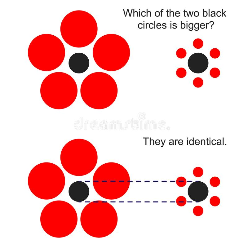 Optical illusion with the sizes of circles. vector illustration