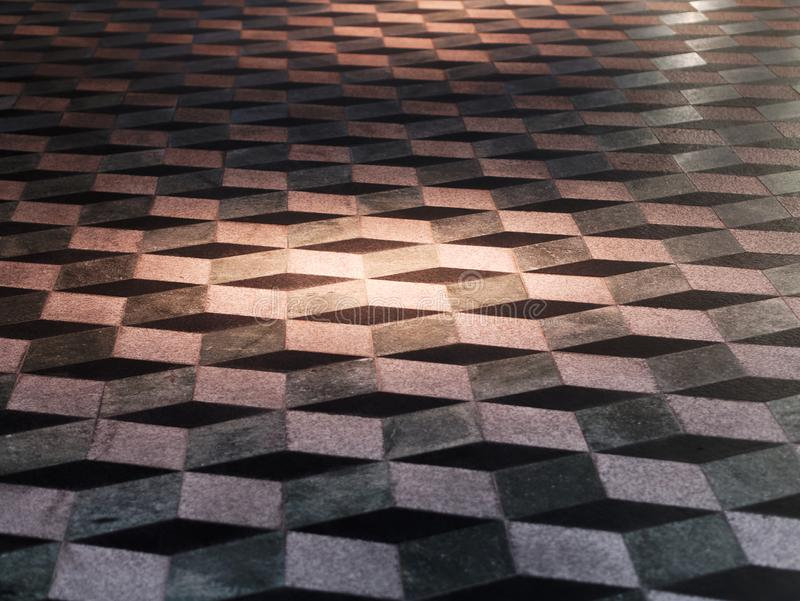 Optical Illusion Three Dimensional Floor Tiles. Perspective view of Optical Illusion Three Dimensional Floor Tiles royalty free stock images