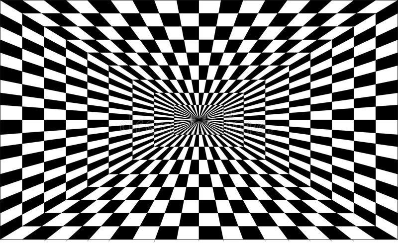 Cool optical illusion. One-point perspective in black royalty free stock photography