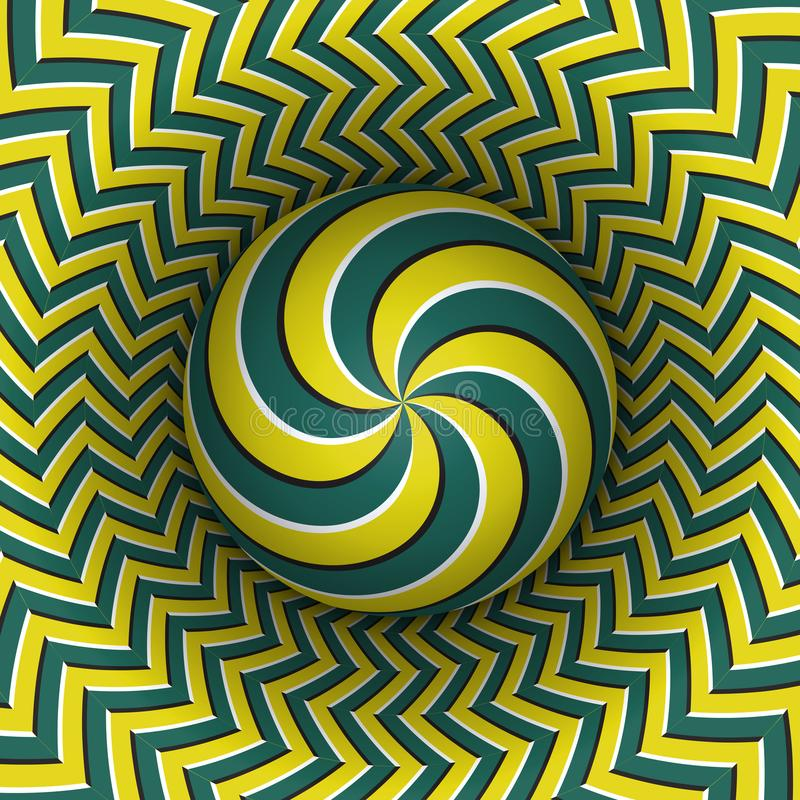 Optical illusion vector illustration. Multiple spiral sphere soaring above the motley surface. Green yellow patterned objects royalty free illustration