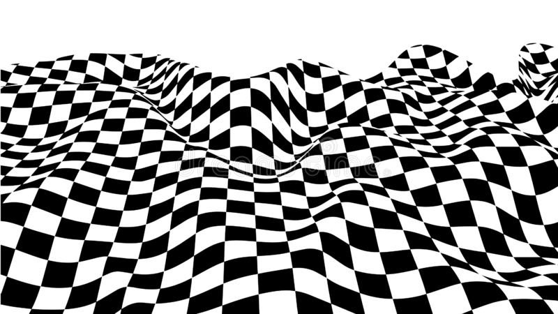 Optical illusion wave. Chess waves board. Abstract 3d black and white illusions. Horizontal lines stripes pattern or background. With wavy distortion effect stock illustration