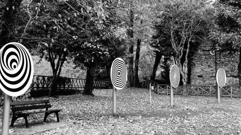 Optical illusions atAristotle Park stock photos