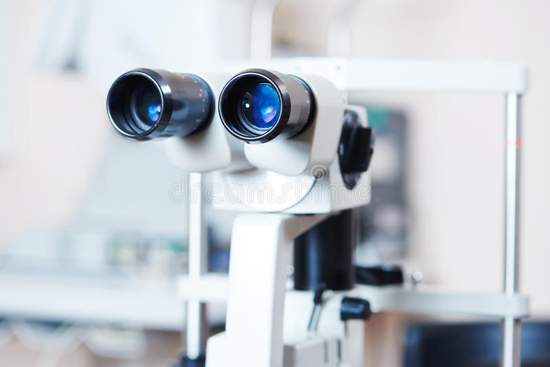 Optical medical equipment for eye examination stock photos