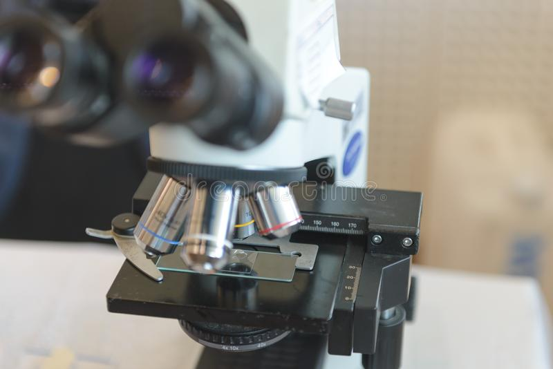 Optical microscope in laboratory. Medical equipment. Concept Science and Technology. Optical microscope in laboratory. Medical equipment. Science and Technology royalty free stock images