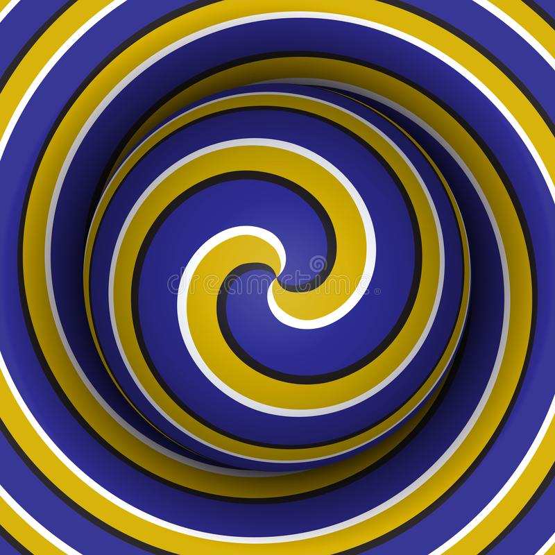 Optical motion illusion background. Sphere with a blue yellow spiral pattern on double helix background vector illustration