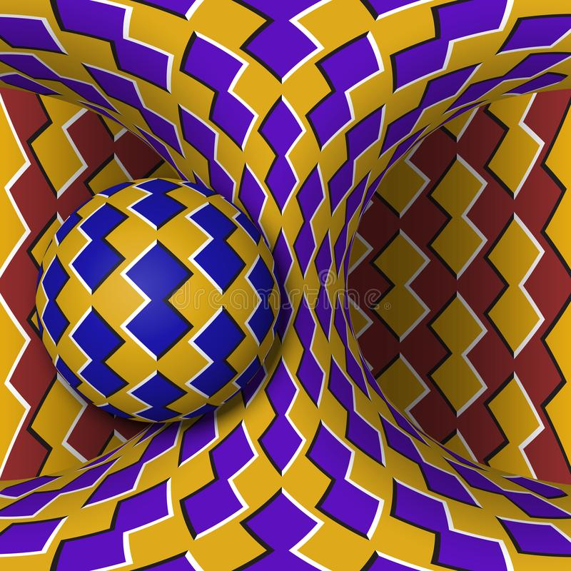 Optical motion illusion illustration. A sphere is rotating around of a moving hyperboloid. Abstract fantasy in a surreal style.  vector illustration