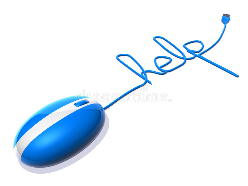 Optical mouse saying help. 3d generated royalty free illustration