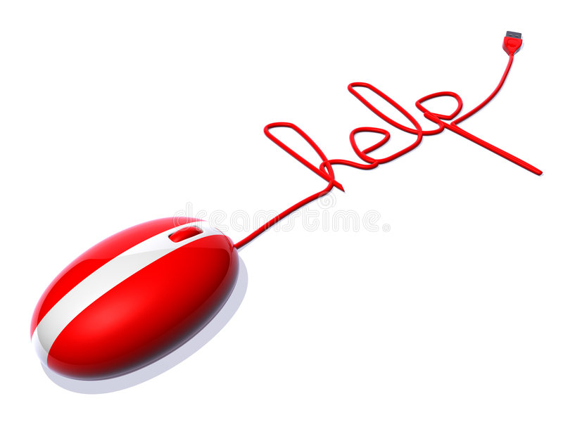 Optical mouse saying help. 3d generated stock illustration