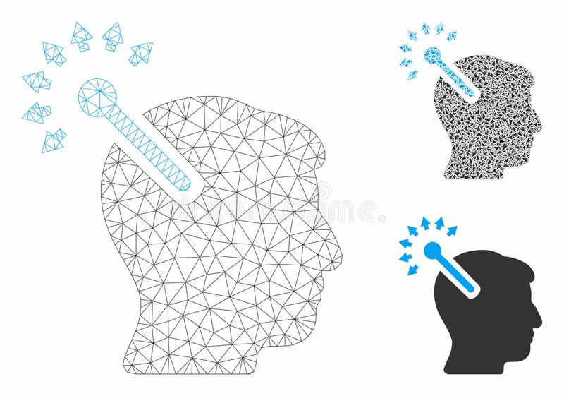 Optical Neural Interface Vector Mesh Carcass Model and Triangle Mosaic Icon. Mesh optical neural interface model with triangle mosaic icon. Wire carcass royalty free illustration