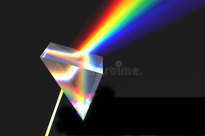 Optical prism and rainbow royalty free stock photos