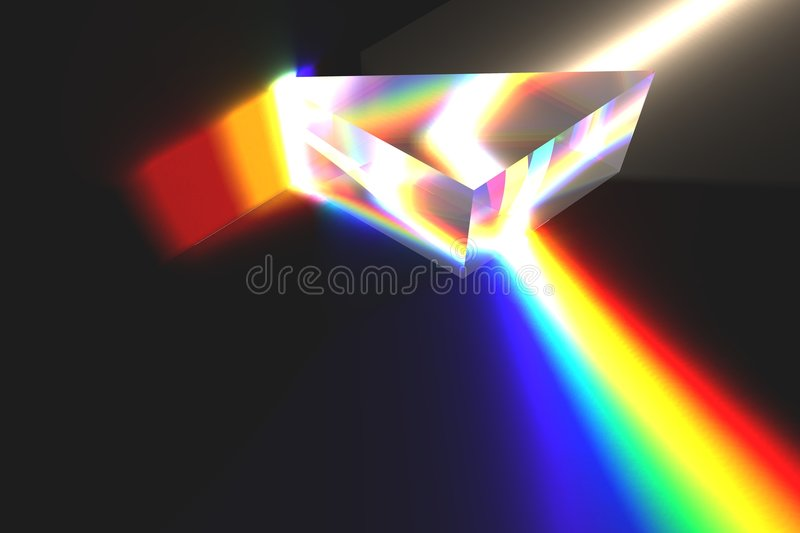 Optical prism and rainbow royalty free stock image