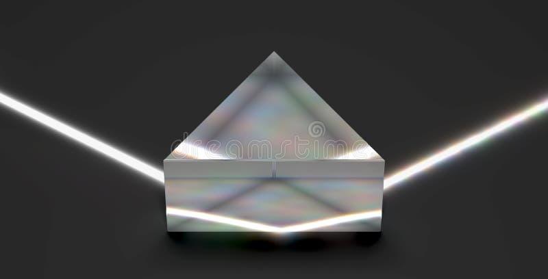 Optical prism reflecting light beam vector illustration
