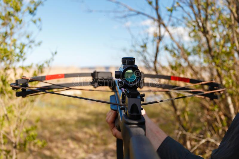 Optical sight crossbow aiming from the first person on the background of the lake. stock photos