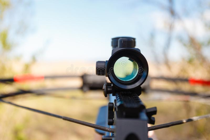 Optical sight crossbow stock photography