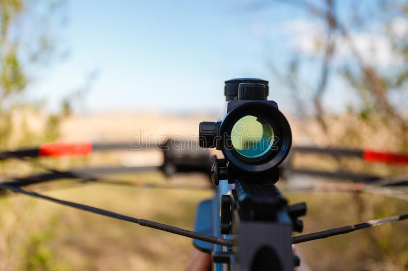Optical sight crossbow aiming from the first person royalty free stock images