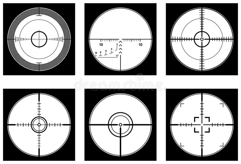 Optical sight. Crosshairs (optical sight or sniperscope) highly detailed set in vector vector illustration