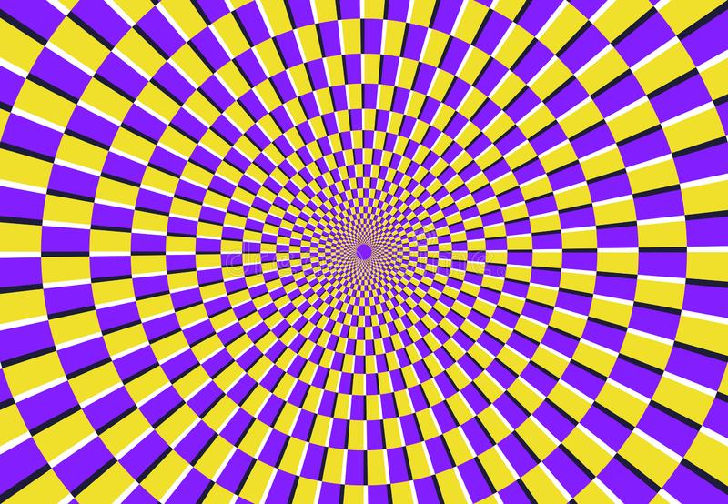 Optical spiral illusion. Magic psychedelic pattern, swirl illusions and hypnotic abstract background vector illustration royalty free illustration