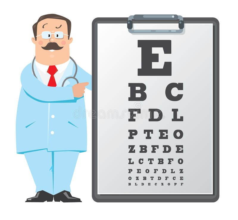 Optician Doctor With Snellen Eye Chart Doctor Stock Vector