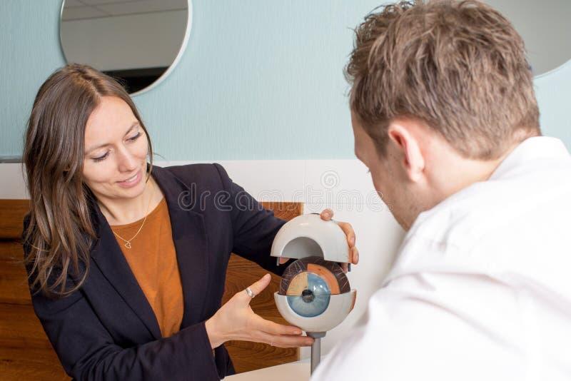 Opticien montrant un oeil à un client photographie stock