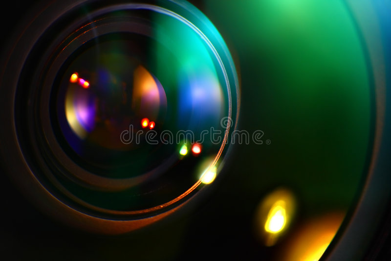 Optics in Lens. With lots of bokeh royalty free stock image