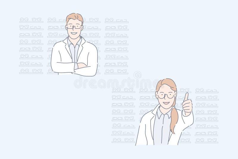 Optics store, oculista, concepto de conjunto de mantenimiento de ojos stock de ilustración