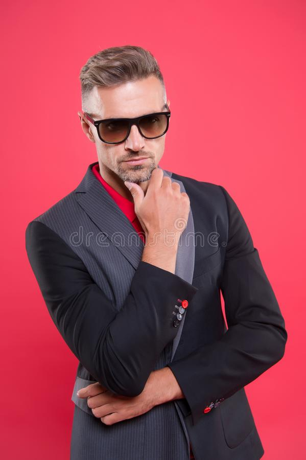 Optics store. Sunglasses accessory. Sense of confidence gentlemen. Man handsome confident mature fashion model wear royalty free stock photos