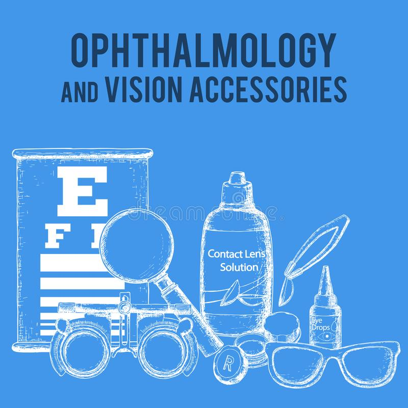 Optics and visual acuity vector illustration