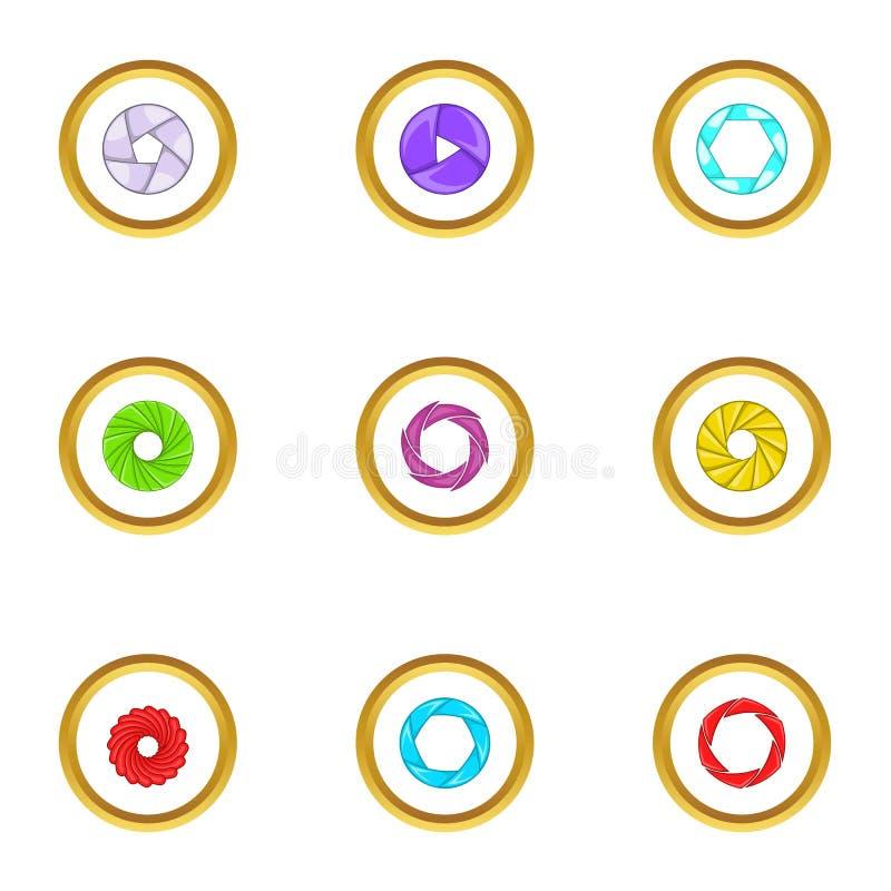 Optics zoom icons set, cartoon style. Optics zoom icons set. Cartoon set of 9 optics zoom vector icons for web isolated on white background stock illustration