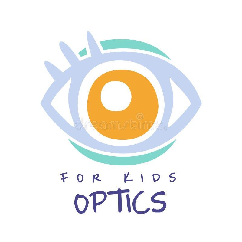 Optik für Kinderlogosymbol, gezeichnete Illustration des Augenarztzeichens Hand stock abbildung