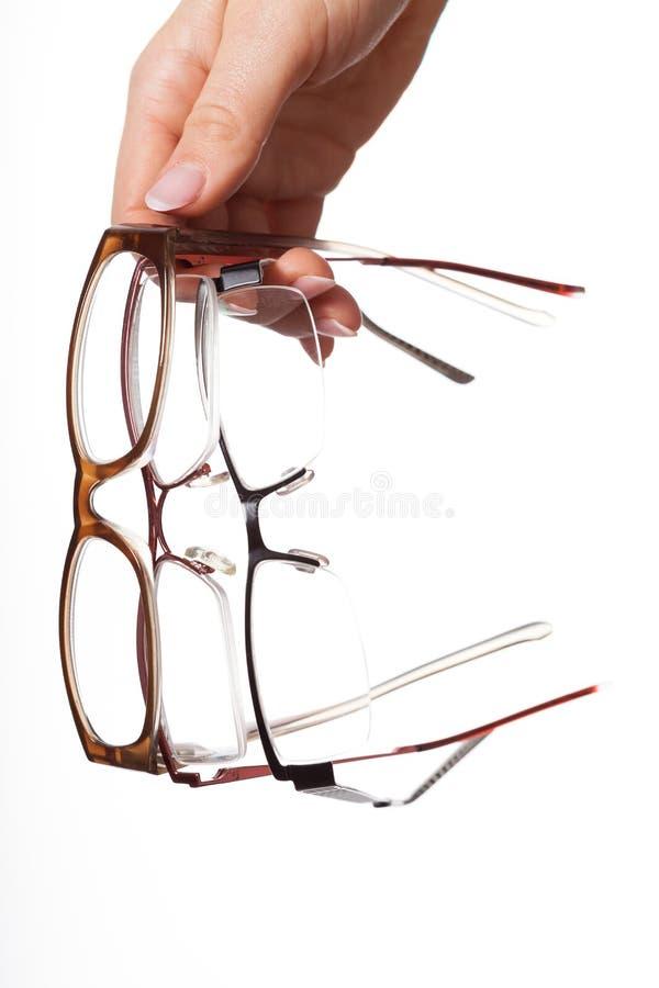 Optiker mit Gläsern stockfotos