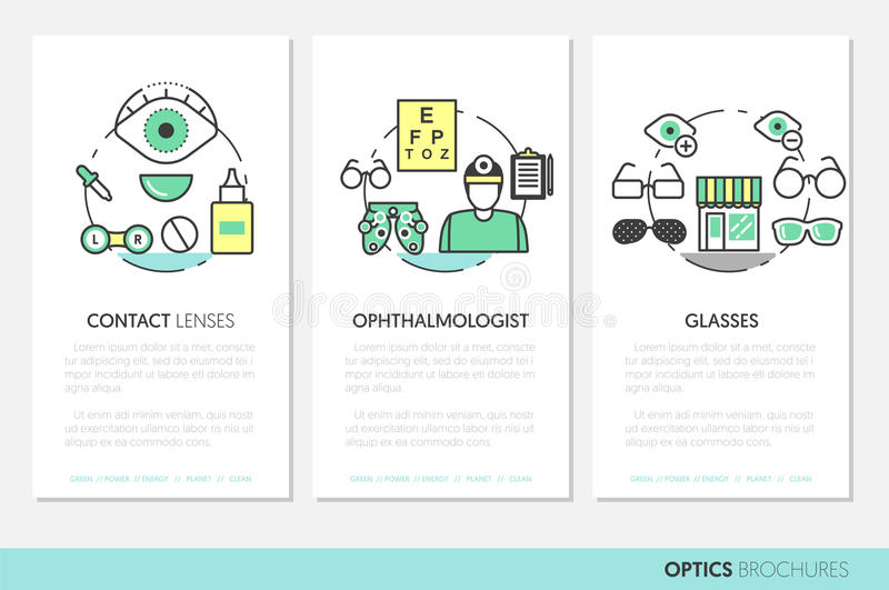Optiker Thin Line Brochures und Visitenkarte-Satz mit Optometrie-Technologie und Brillen vektor abbildung