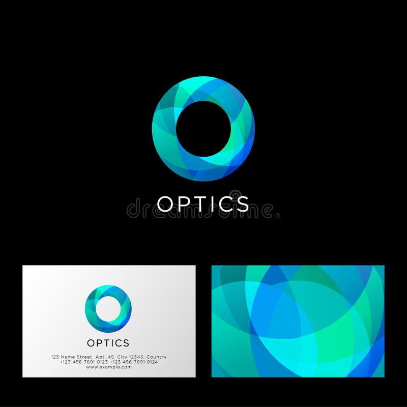 Optiklogo Nolla-bokstav Blått och azurt genomskinligt abstrakt symbol Rengöringsduk användargränssnittsymbol vektor illustrationer
