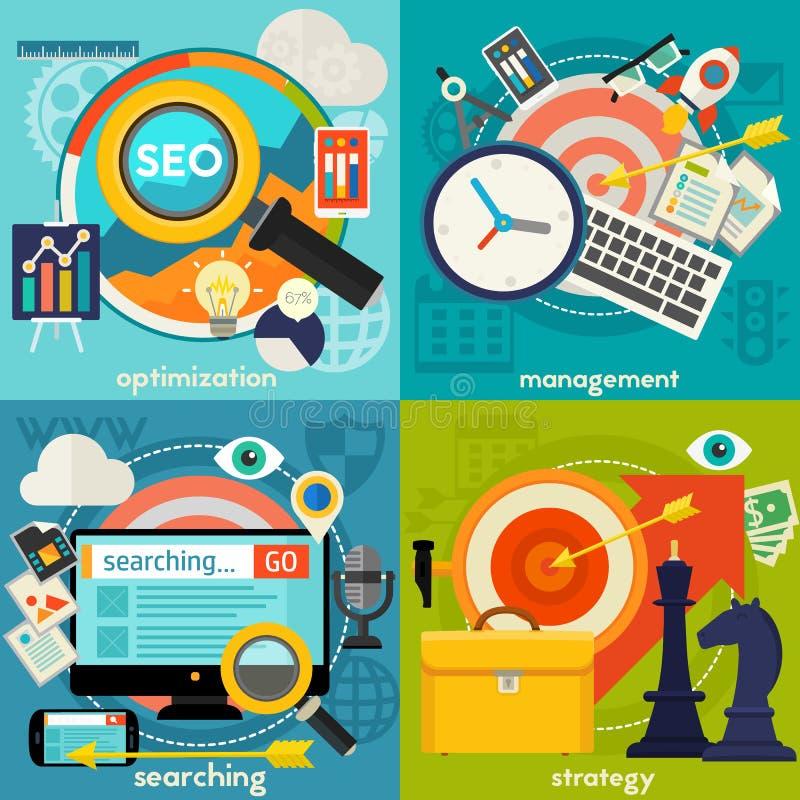 Optimalisering, Beheers, het Zoeken en Strategieconcept stock illustratie