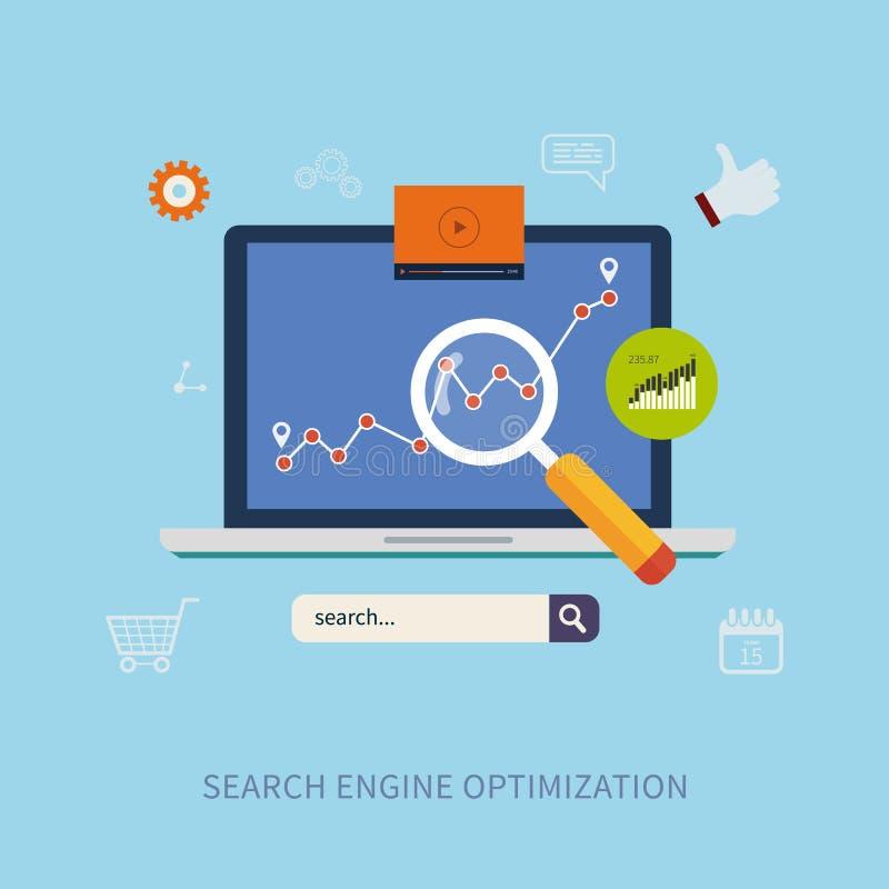 Optimalisering en Webelementen stock illustratie