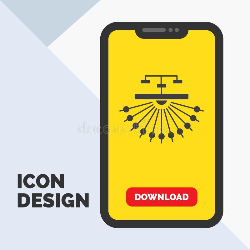 optimalisering, plaats, plaats, structuur, het Pictogram van Webglyph in Mobiel voor Downloadpagina Gele achtergrond vector illustratie
