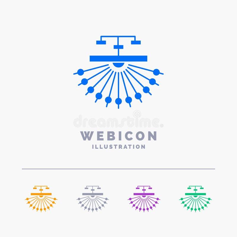 optimalisering, plaats, plaats, structuur, Web 5 het Malplaatje van het het Webpictogram van Kleurenglyph op wit wordt geïsoleerd royalty-vrije illustratie