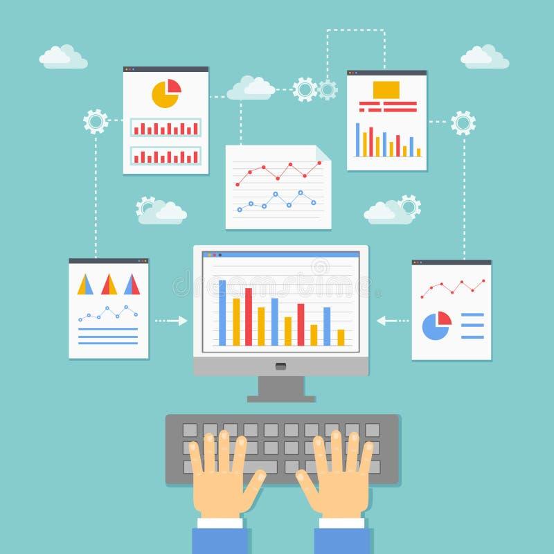 Optimalisering, programmering en analytics royalty-vrije illustratie