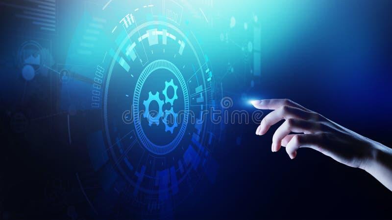 Optimalisering van het automatiserings, de Bedrijfs en industrieel proceswerkschema, software-ontwikkelingconcept op het virtuele vector illustratie