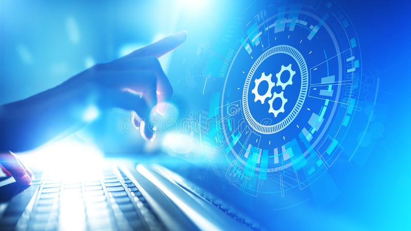 Optimalisering van het automatiserings, de Bedrijfs en industrieel proceswerkschema, software-ontwikkelingconcept op het virtuele stock foto