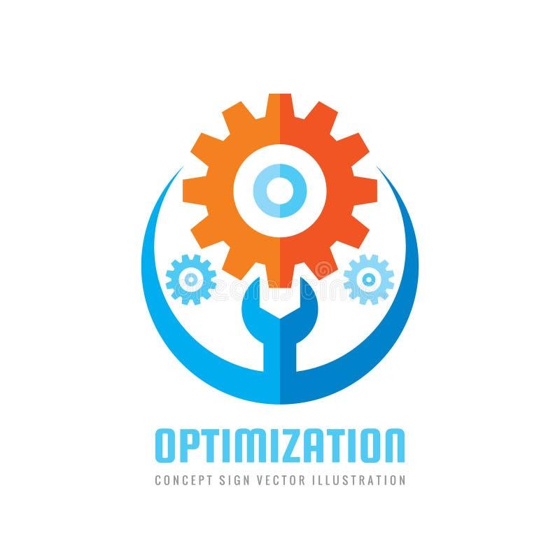 Optimalisering - vector het conceptenillustratie van het bedrijfsembleemmalplaatje Teken van de toestel het elektronische fabriek vector illustratie