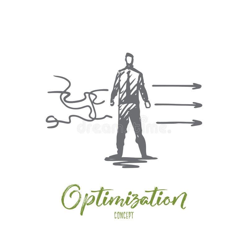 Optimalisering, zaken, beheer, ontwikkelingsconcept Hand getrokken geïsoleerde vector vector illustratie