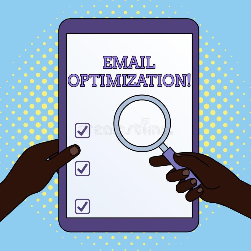 Optimisation d'email des textes d'?criture de Word Concept d'affaires pour Maximize l'efficacité des mains de campagne de marketi illustration stock