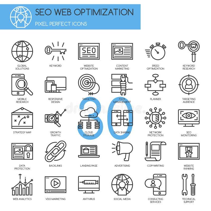 Optimisation de moteur de recherche, ligne mince icônes réglées illustration de vecteur