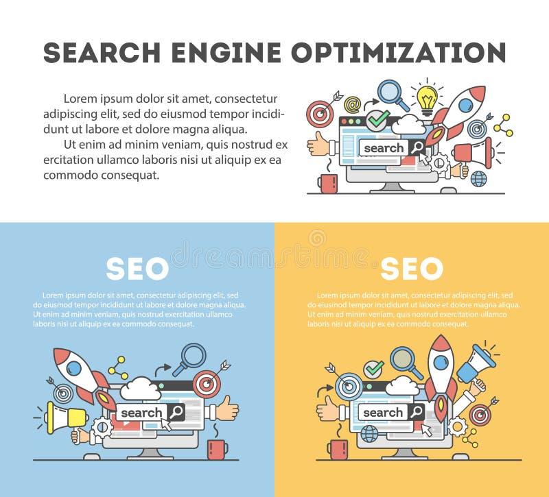 Optimisation de seo de concept dans le moteur de recherche illustration de vecteur