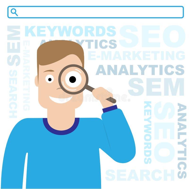 Optimisation de SEO Les PSEM et e-marketing Le type tient une loupe Illustration plate illustration stock