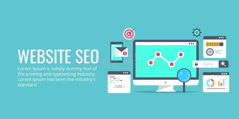 Optimisation de Seo, processus de programmation, concept d'analytics de Web Bannière plate de vecteur de conception illustration stock
