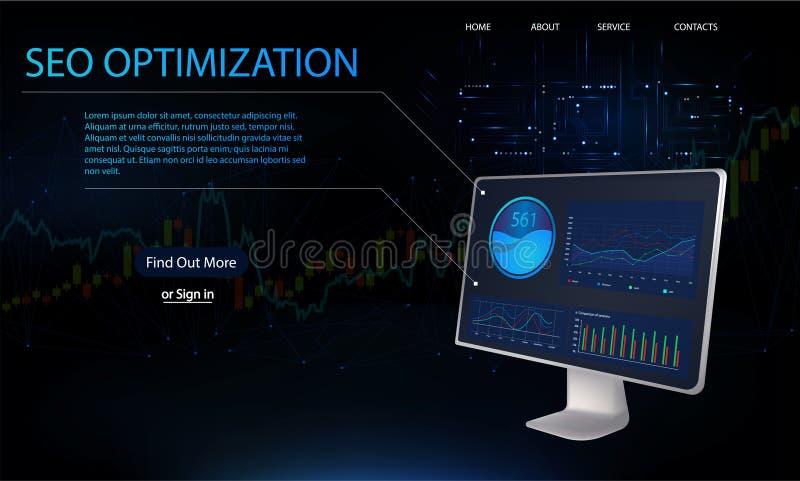 Optimisation de SEO, Web isométrique illustration de vecteur