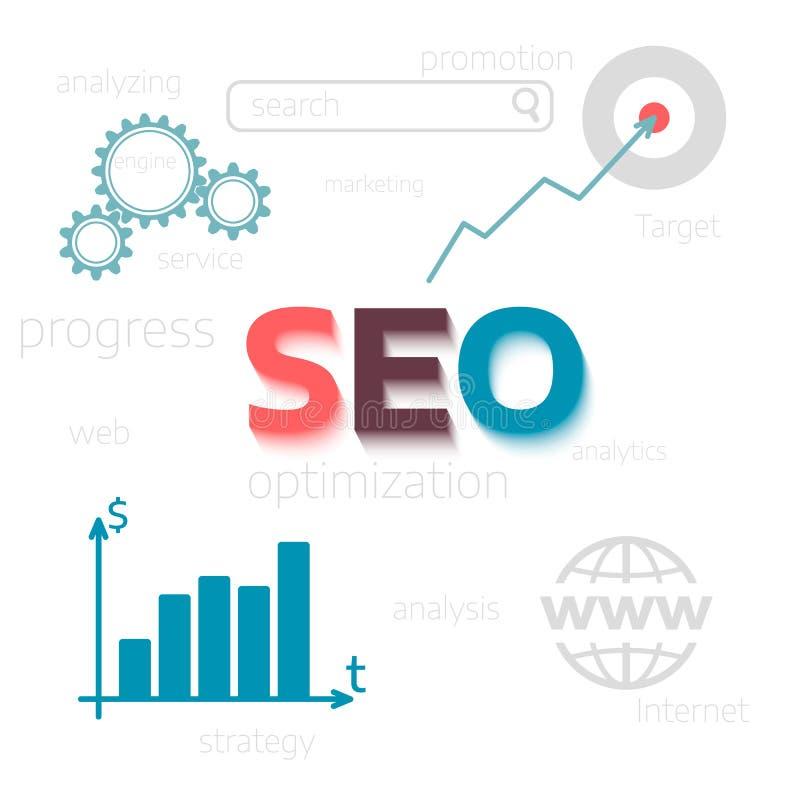 Optimisation för begrepp SEO Websiten främjar Plan vektorillustration stock illustrationer