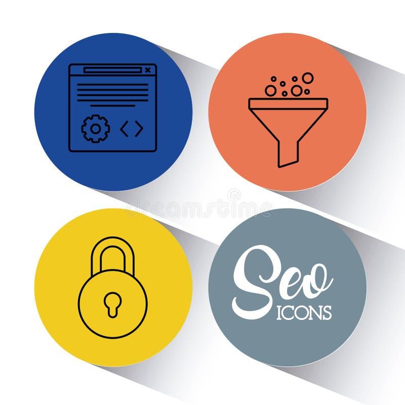 Optimisation för Seo sökandemotor och marknadsföringssymbol royaltyfri illustrationer
