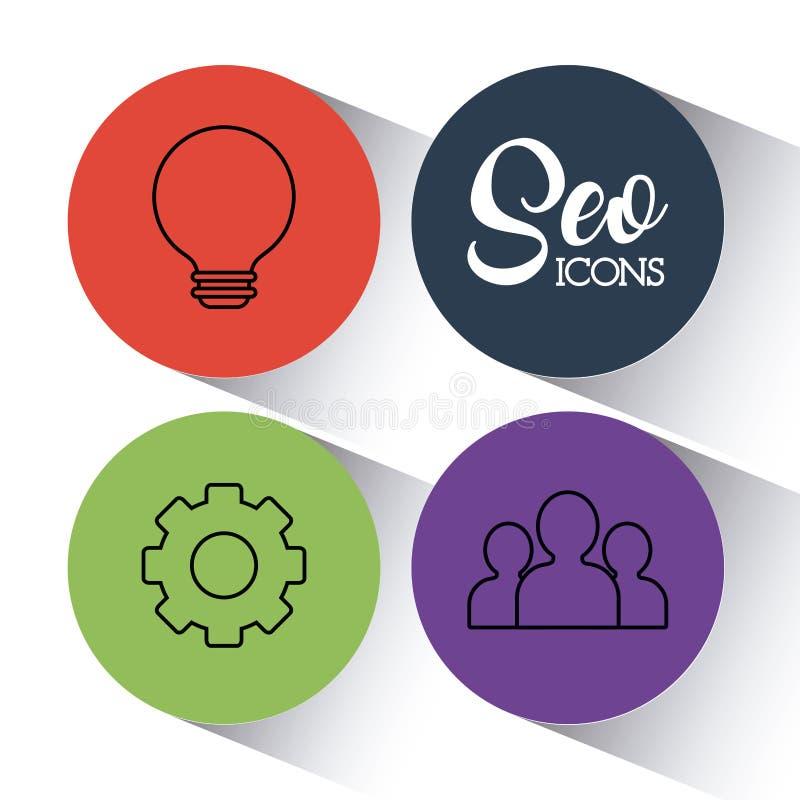 Optimisation för Seo sökandemotor och marknadsföringssymbol stock illustrationer